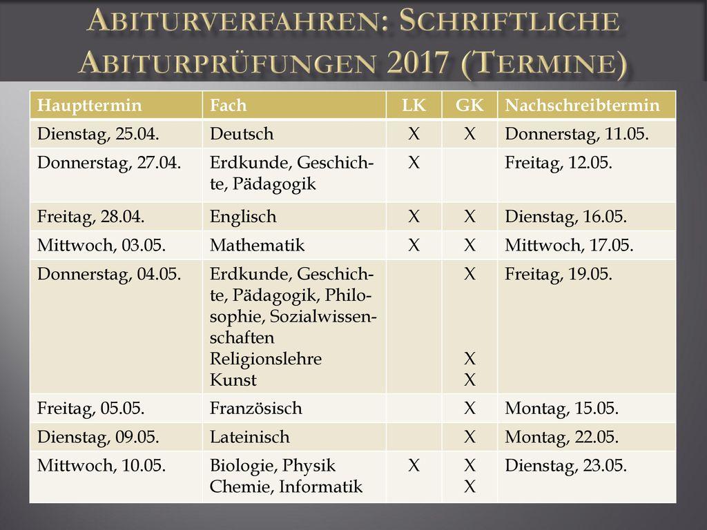 Abiturverfahren: Schriftliche Abiturprüfungen 2017 (Termine)