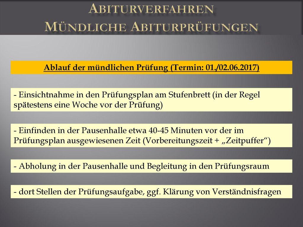 Abiturverfahren Mündliche Abiturprüfungen