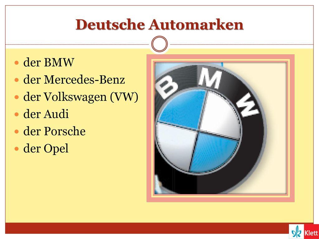 Deutsche Automarken der BMW der Mercedes-Benz der Volkswagen (VW)