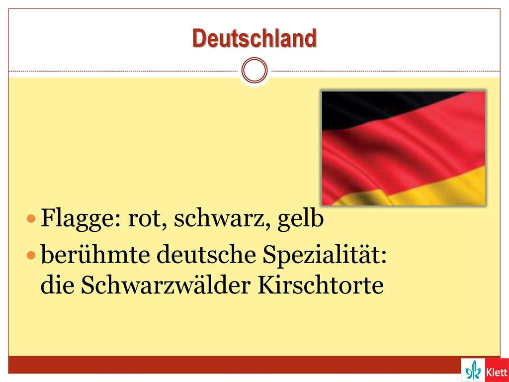 Deutschland Flagge: rot, schwarz, gelb berühmte deutsche Spezialität: die Schwarzwälder Kirschtorte