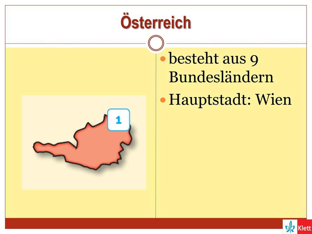 Österreich besteht aus 9 Bundesländern Hauptstadt: Wien