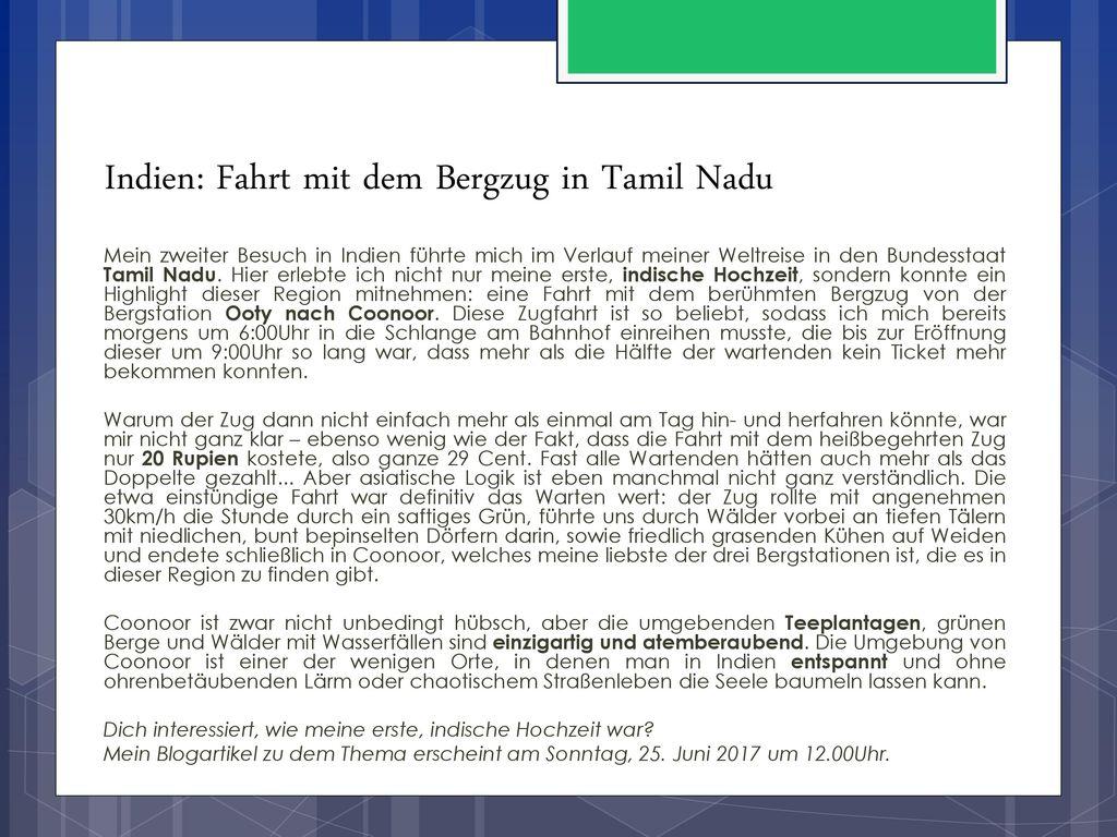 Indien: Fahrt mit dem Bergzug in Tamil Nadu
