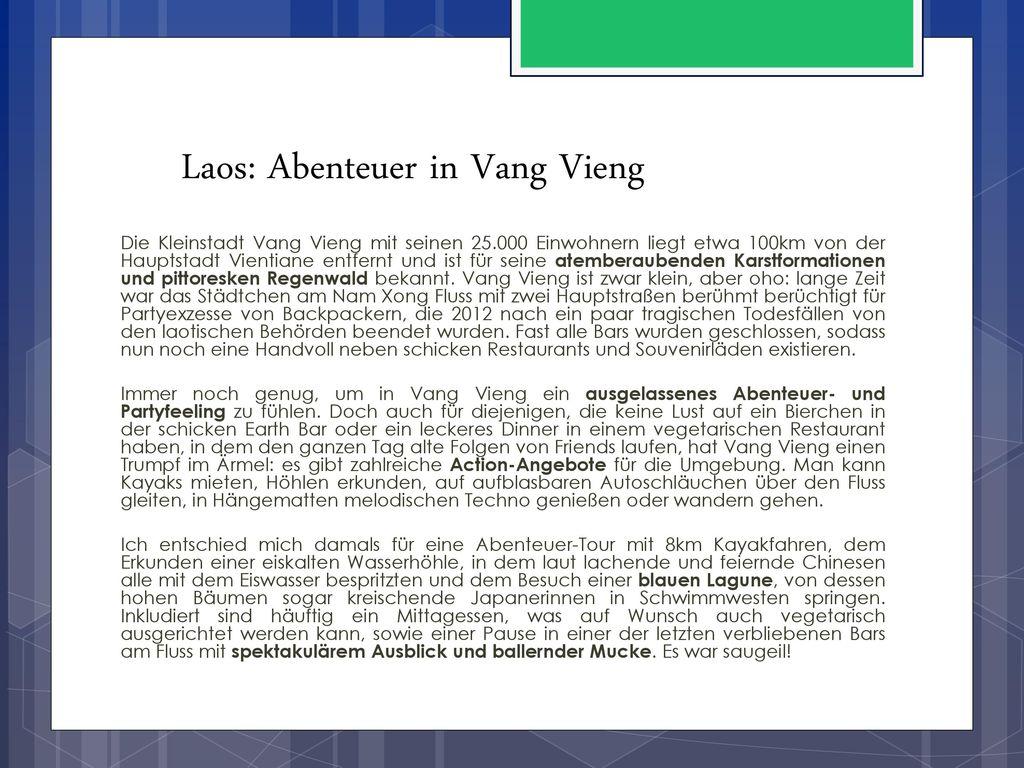 Laos: Abenteuer in Vang Vieng