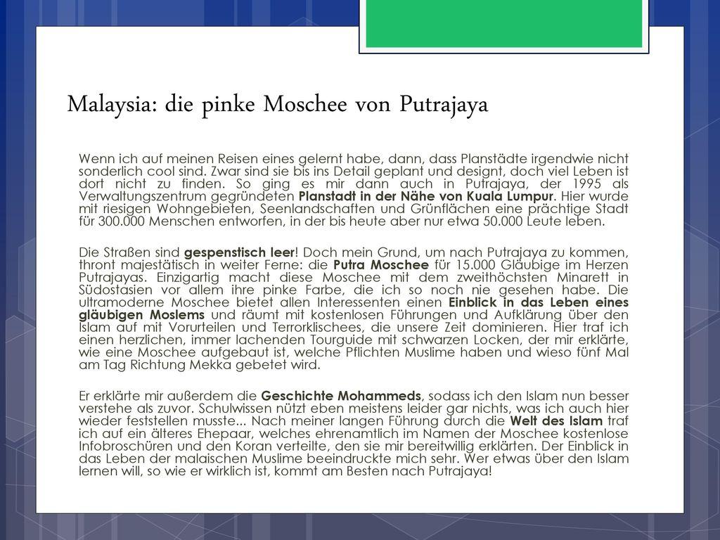 Malaysia: die pinke Moschee von Putrajaya