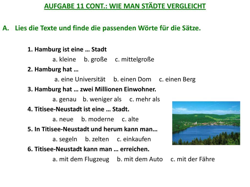 AUFGABE 11 CONT.: WIE MAN STÄDTE VERGLEICHT