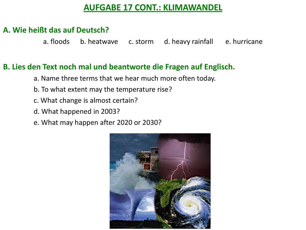 AUFGABE 17 CONT.: KLIMAWANDEL