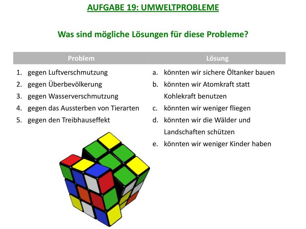 AUFGABE 19: UMWELTPROBLEME Was sind mögliche Lösungen für diese Probleme
