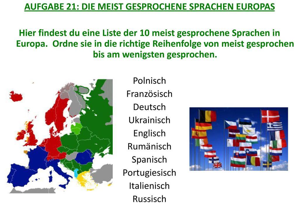 AUFGABE 21: DIE MEIST GESPROCHENE SPRACHEN EUROPAS