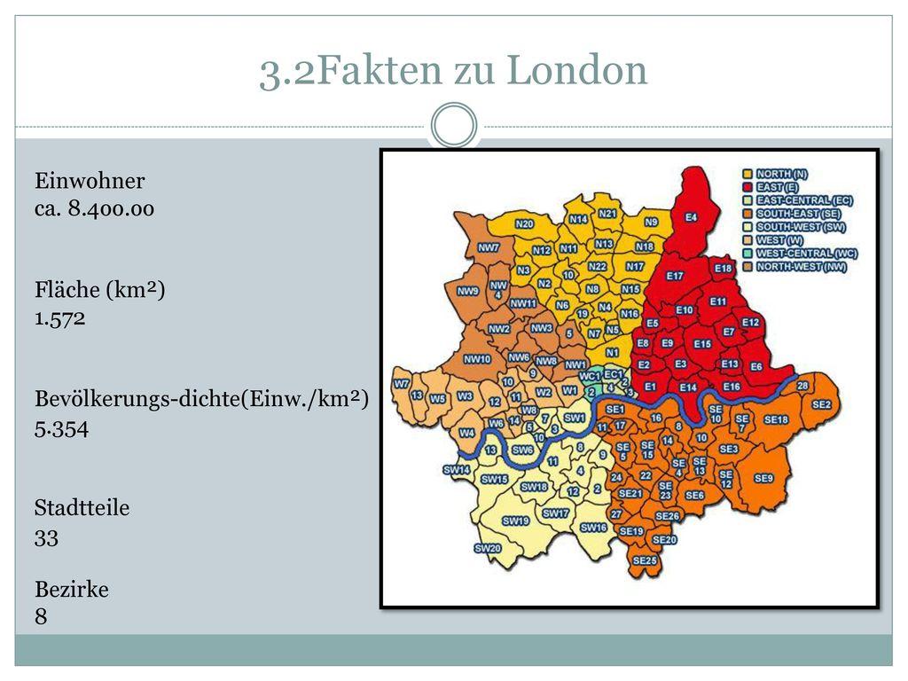 3.2Fakten zu London Einwohner ca. 8.4oo.oo Fläche (km²) 1.572