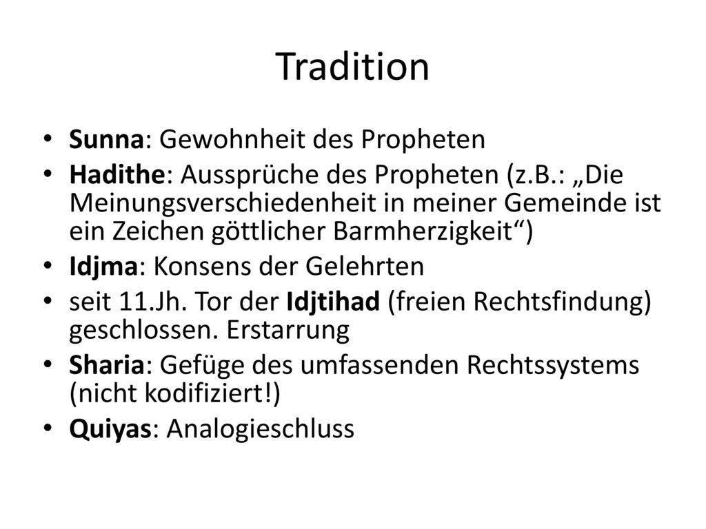 Tradition Sunna: Gewohnheit des Propheten