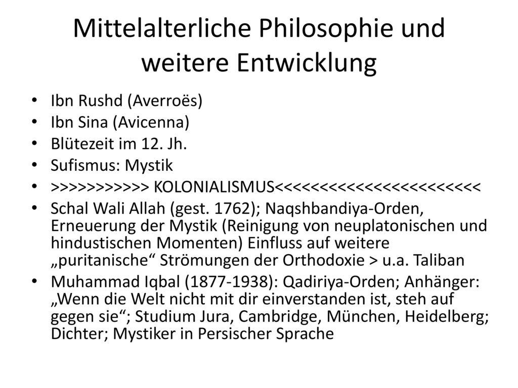 Mittelalterliche Philosophie und weitere Entwicklung