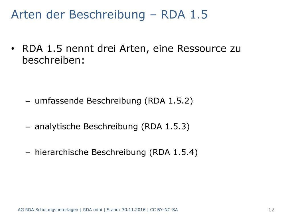 Arten der Beschreibung – RDA 1.5