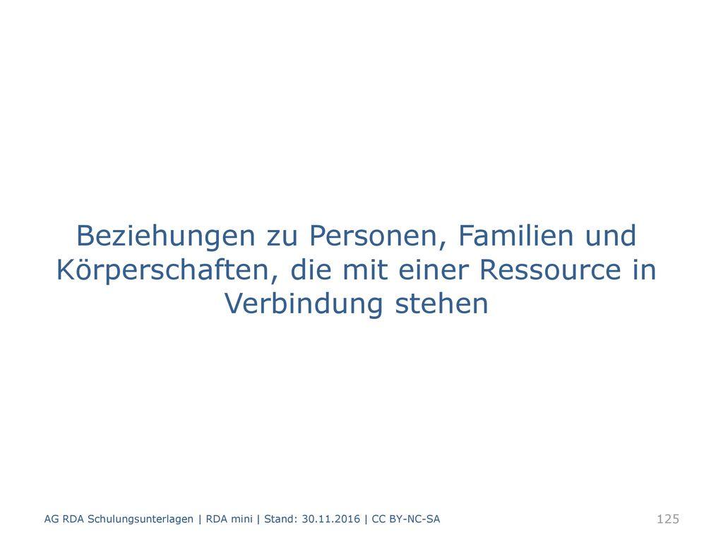Beziehungen zu Personen, Familien und Körperschaften, die mit einer Ressource in Verbindung stehen
