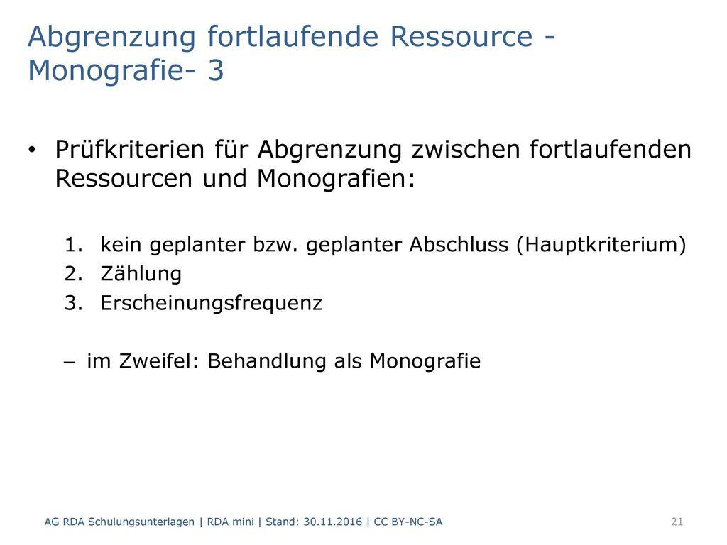 Abgrenzung fortlaufende Ressource - Monografie- 3