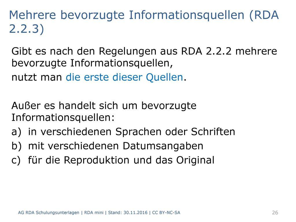 Mehrere bevorzugte Informationsquellen (RDA 2.2.3)