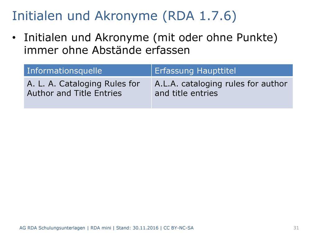 Initialen und Akronyme (RDA 1.7.6)
