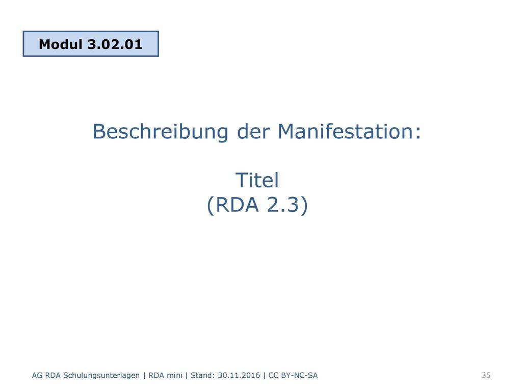 Beschreibung der Manifestation: Titel (RDA 2.3)