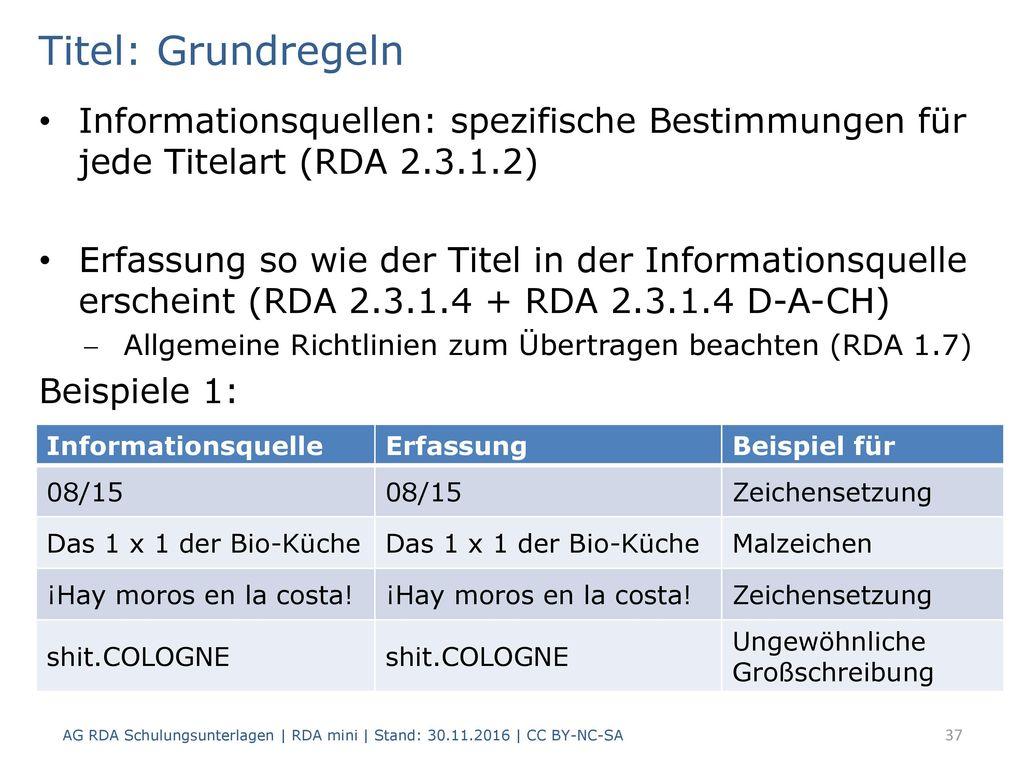 Titel: Grundregeln Informationsquellen: spezifische Bestimmungen für jede Titelart (RDA 2.3.1.2)