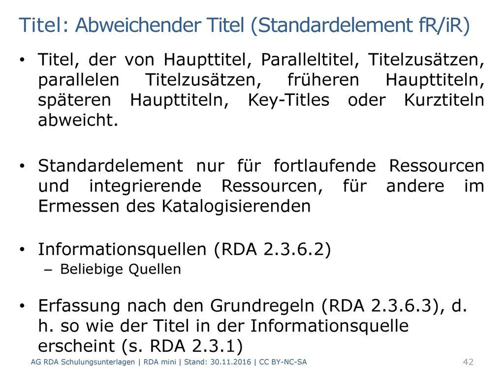 Titel: Abweichender Titel (Standardelement fR/iR)