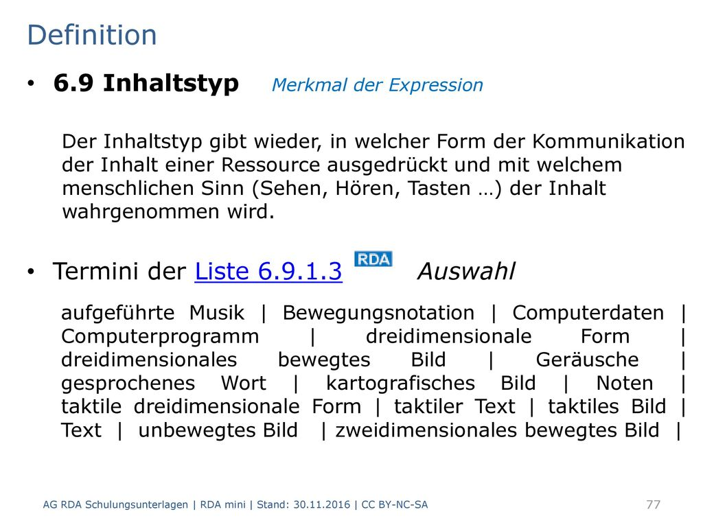 Definition 6.9 Inhaltstyp Merkmal der Expression