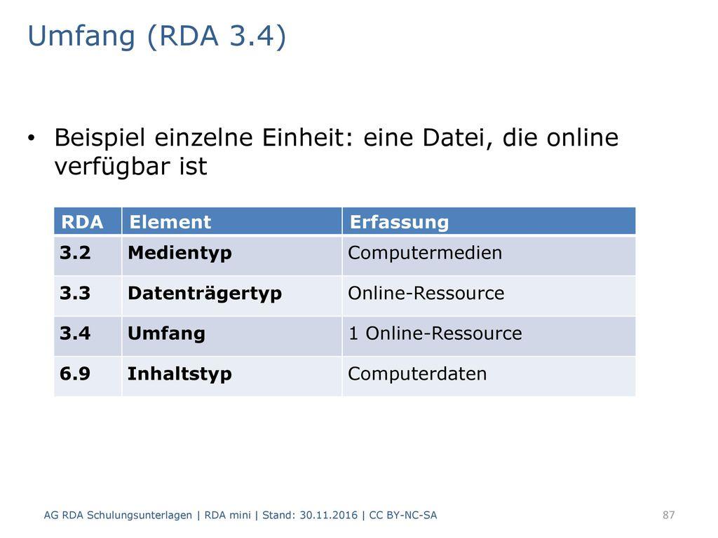Umfang (RDA 3.4) Beispiel einzelne Einheit: eine Datei, die online verfügbar ist. RDA. Element. Erfassung.