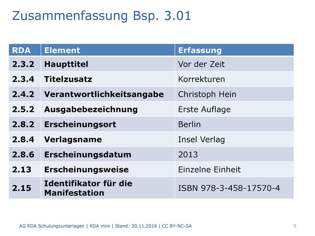 Zusammenfassung Bsp. 3.01 RDA Element Erfassung 2.3.2 Haupttitel