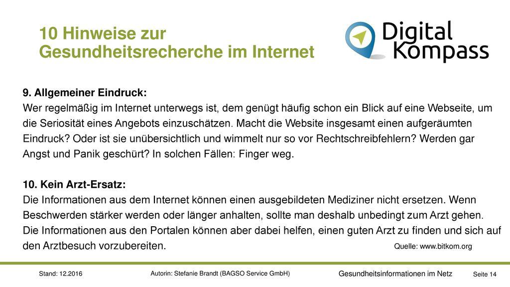 10 Hinweise zur Gesundheitsrecherche im Internet