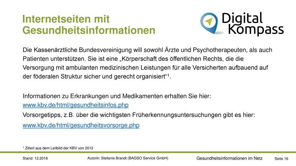 Internetseiten mit Gesundheitsinformationen