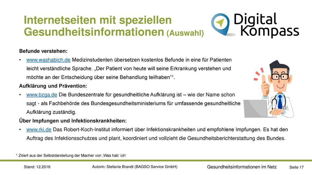 Internetseiten mit speziellen Gesundheitsinformationen (Auswahl)