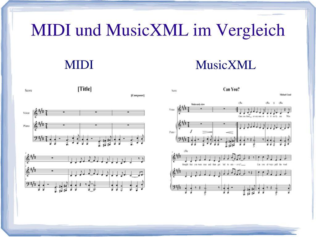 MIDI und MusicXML im Vergleich