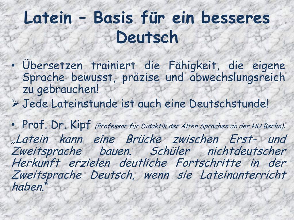 Latein – Basis für ein besseres Deutsch