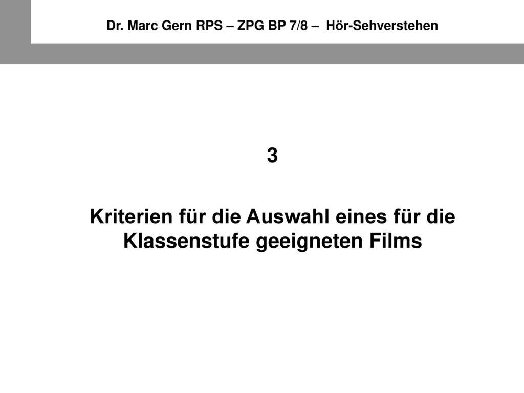 Kriterien für die Auswahl eines für die Klassenstufe geeigneten Films