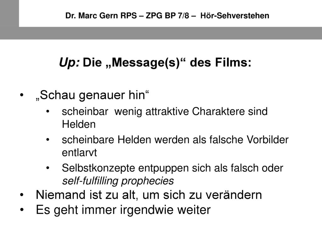 "Up: Die ""Message(s) des Films:"