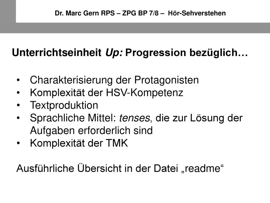 Unterrichtseinheit Up: Progression bezüglich…