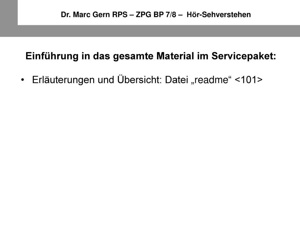 Einführung in das gesamte Material im Servicepaket: