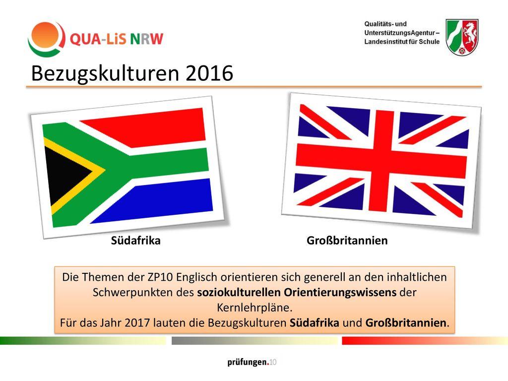 Bezugskulturen 2016 Südafrika Großbritannien