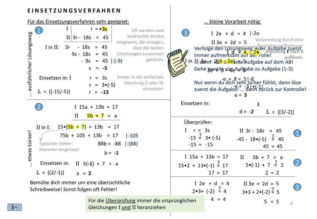 1.) Löse eine der beiden Gleichungen nach einer Variablen auf.