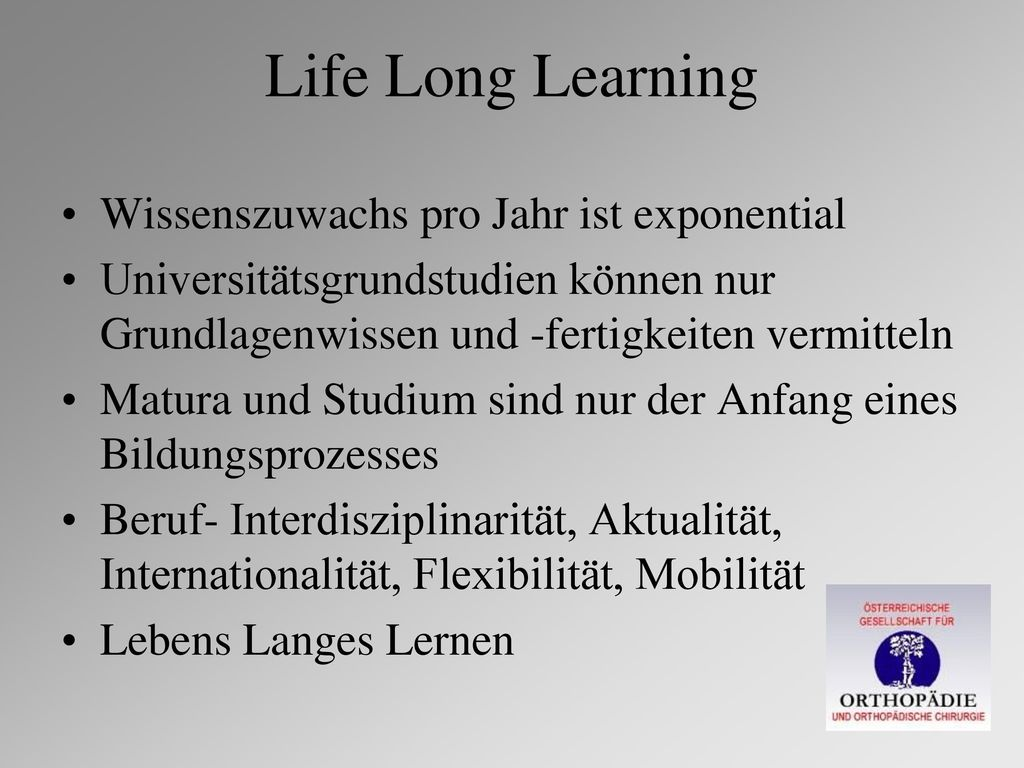 Life Long Learning Wissenszuwachs pro Jahr ist exponential