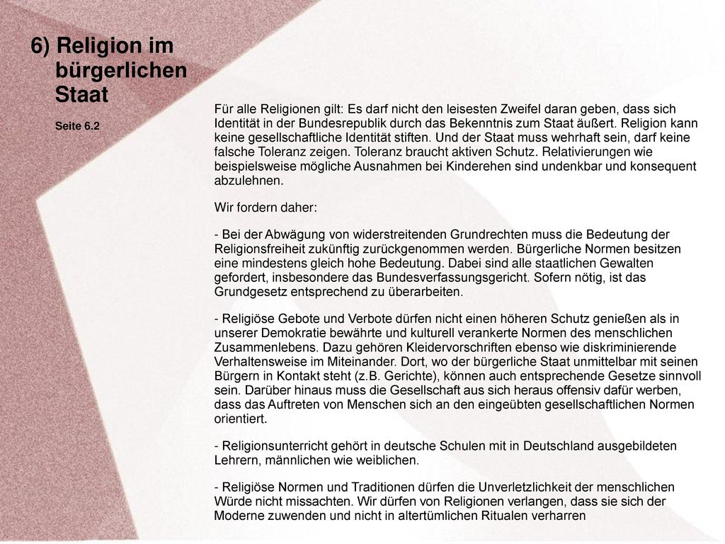 6) Religion im bürgerlichen Staat