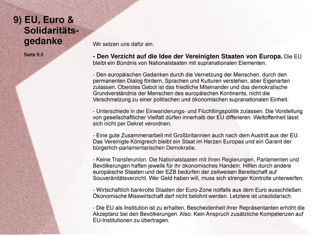 9) EU, Euro & Solidaritäts- gedanke