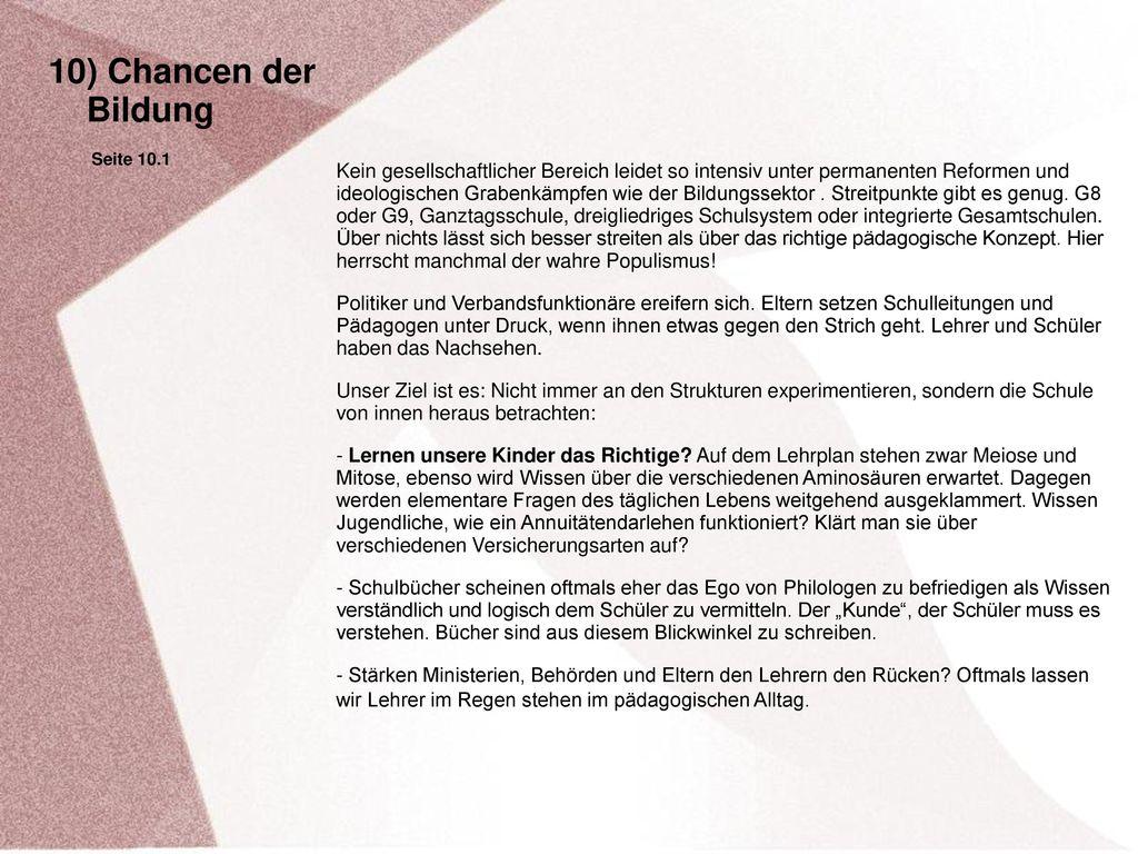 10) Chancen der Bildung. Seite 10.1.