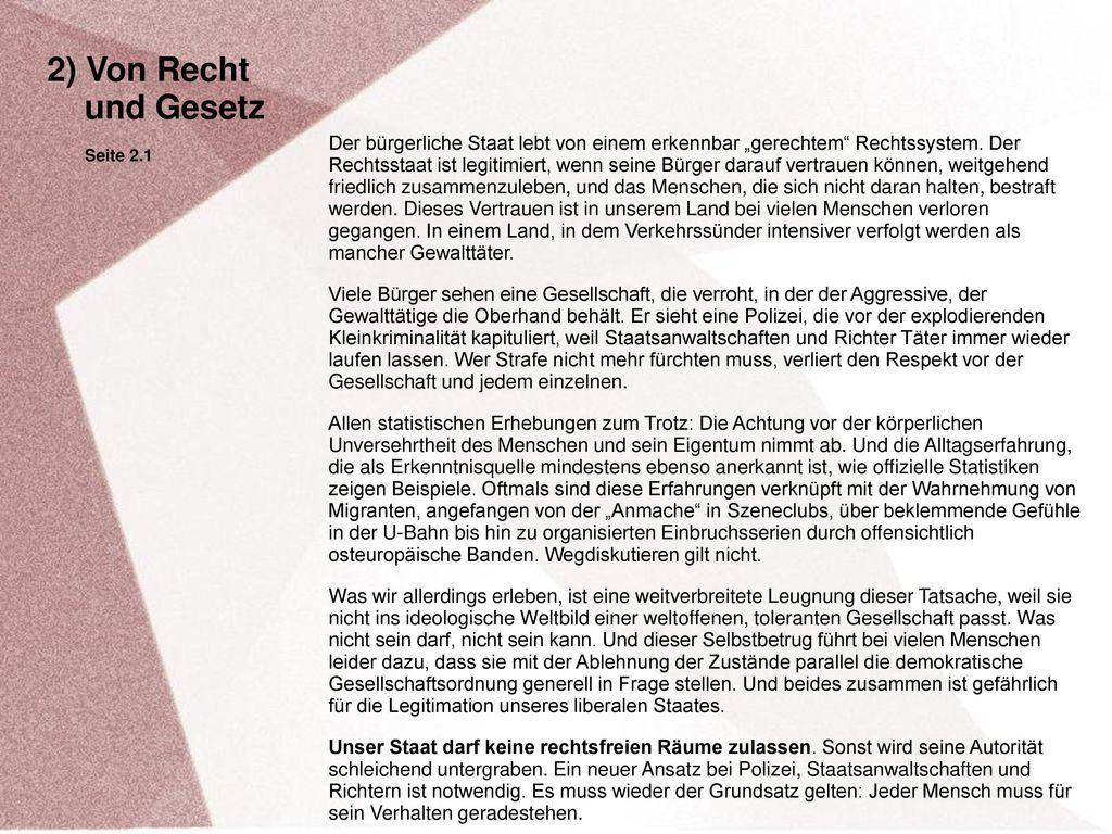 2) Von Recht und Gesetz. Seite 2.1.