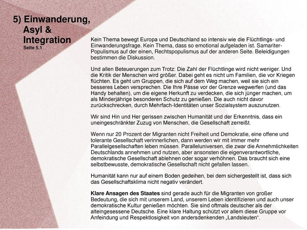 5) Einwanderung, Asyl & Integration