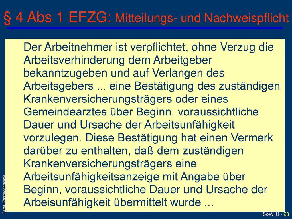 § 4 Abs 1 EFZG: Mitteilungs- und Nachweispflicht