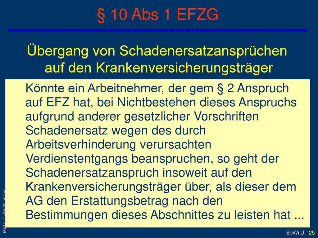 § 10 Abs 1 EFZG Übergang von Schadenersatzansprüchen