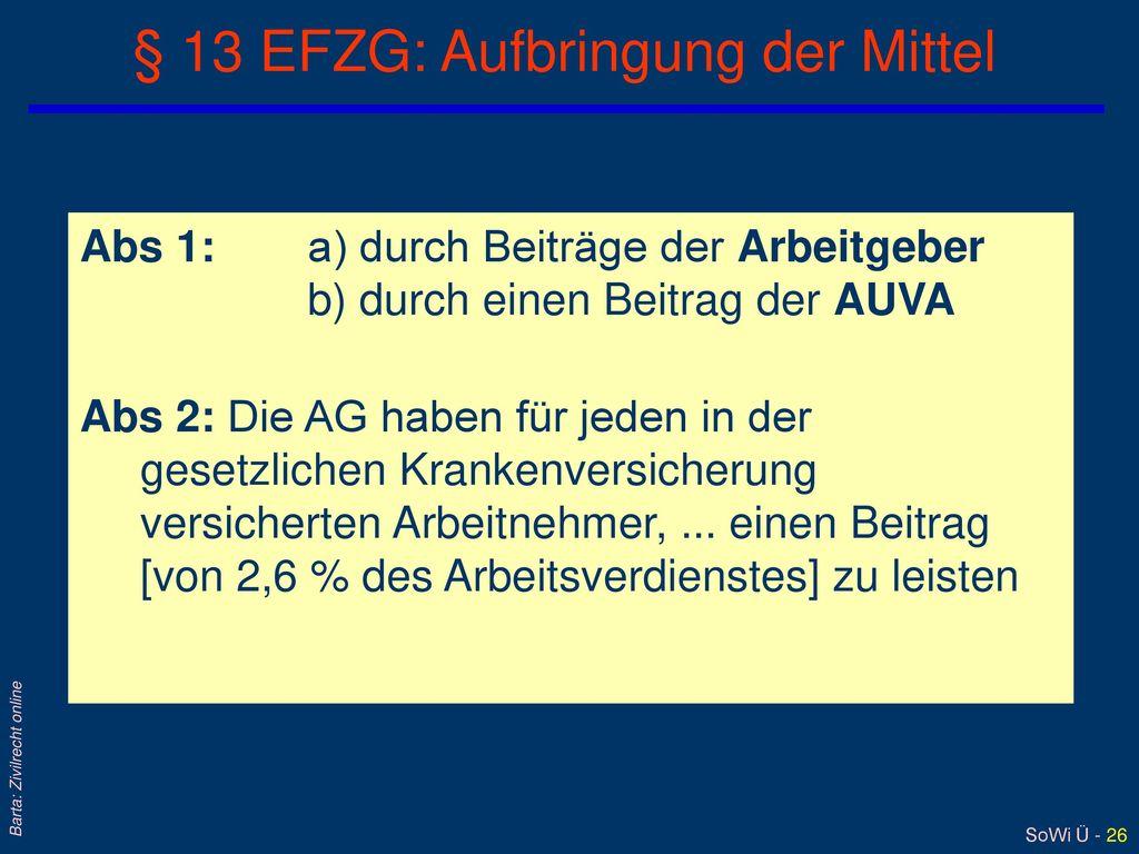 § 13 EFZG: Aufbringung der Mittel