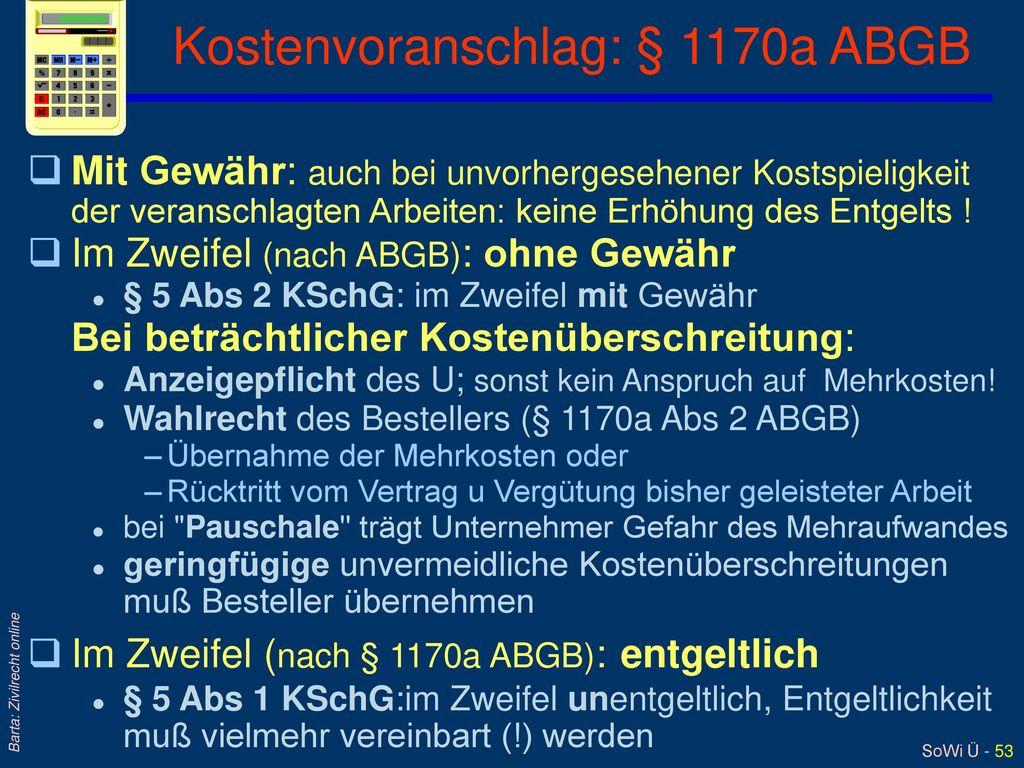 Kostenvoranschlag: § 1170a ABGB