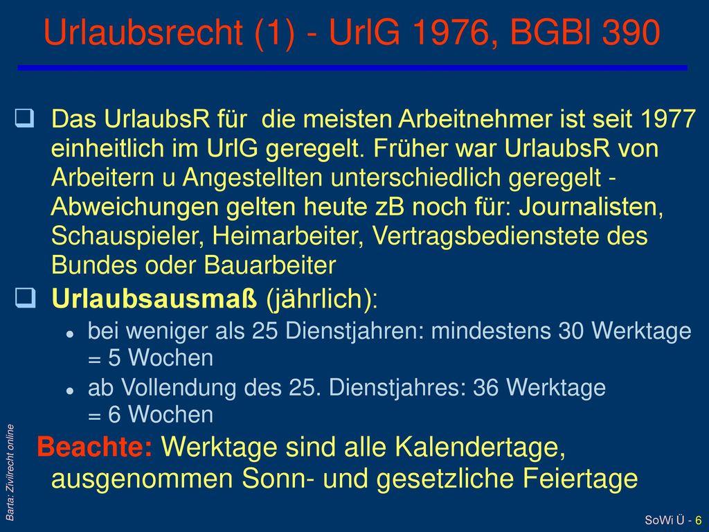 Urlaubsrecht (1) - UrlG 1976, BGBl 390