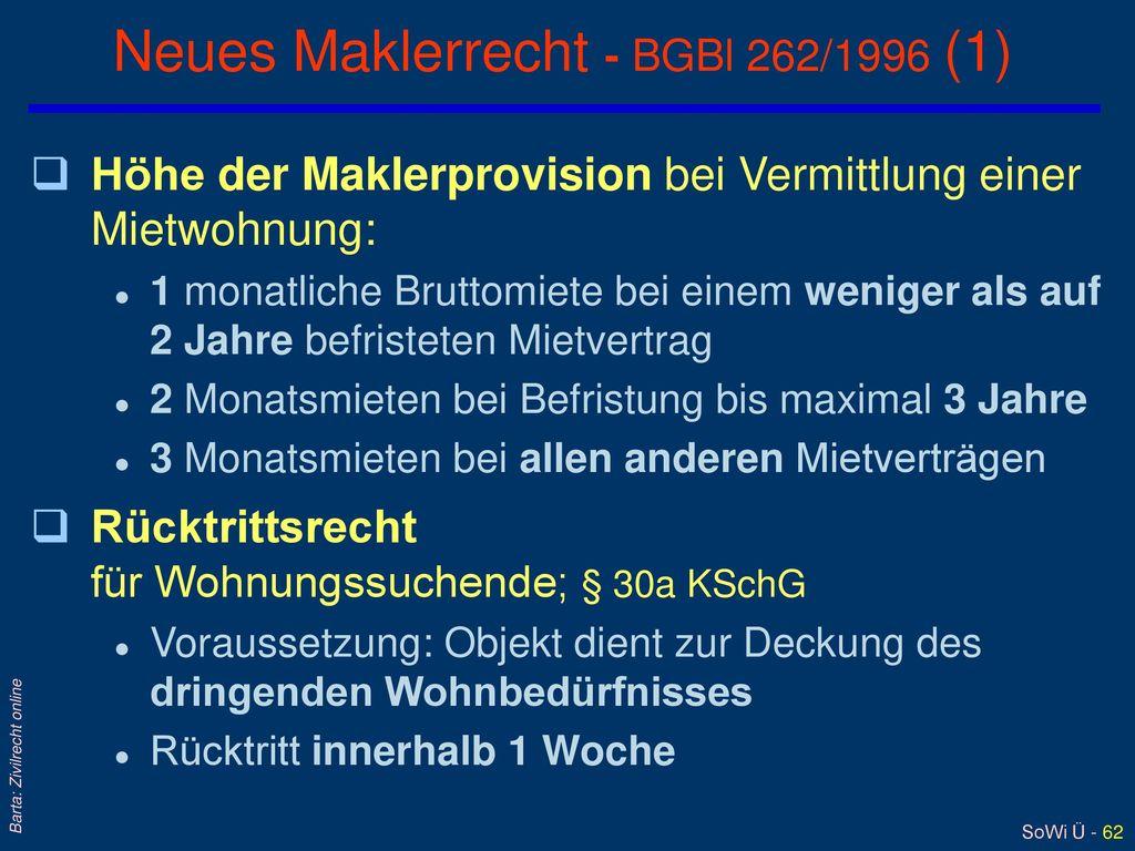 Neues Maklerrecht - BGBl 262/1996 (1)