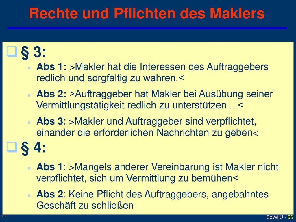 Rechte und Pflichten des Maklers